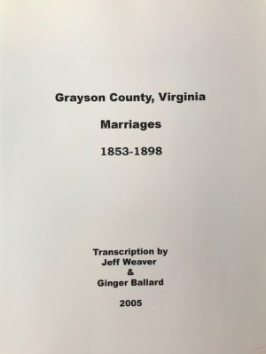 Grayson County Marriages, 1853-1898
