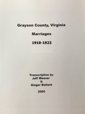 Grayson County Marriages, 1910-1923